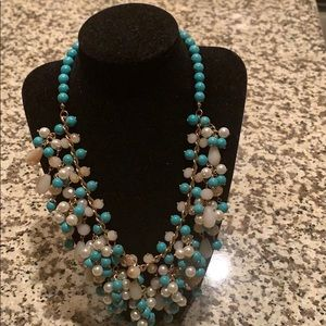 Natasha Necklace ( Faux Pearls & Turquoise Beads)